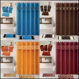 19PC COMPLETE BATHROOM BATH MATS SHOWER CURTAIN WITH CERAMIC