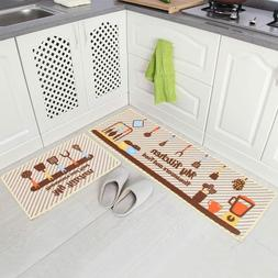 Carvapet 2 Piece Non-Slip Kitchen Mat Rubber Backing Doormat
