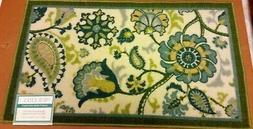 ACCENT PRINTED RUG  FLOWERS, PAISLEY, green border, Waverly
