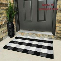 Black and White Buffalo Plaid Check Door Mat Rug Farmhouse C