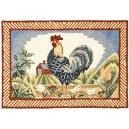 Kitchen Rug Country Farm Animal Rooster Decor Red Blue Barn