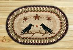 Crows and Barn Stars Braided Oval Rug by Earth Rugs