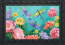 "Dragonfly Garden Spring Doormat Indoor Outdoor 18"" x 30"" Bri"