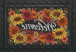 "Fall Flowers Welcome Doormat Autumn Indoor Outdoor 18"" x 30"""