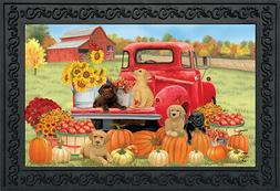 "Fall Puppies Doormat Red Pickup Dogs Indoor / Outdoor 18"" x"
