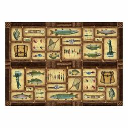 Fishing Woven Area Rug By Rivers Edge Products 52 x 37 Inch