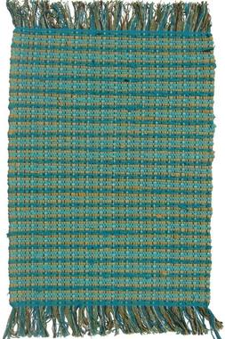 Indoor Mat Cotton Contemporary Checked Handmade Doormat 2'X3
