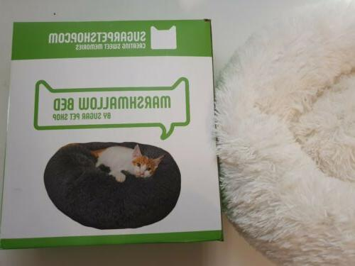 marshmallow bed cats calming round plush faux