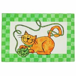 """LIFE WITH A CAT Indoor/Outdoor Large Heavyweight Mat / 27"""" L"""