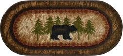 lodge cabin rug mat birch bear black
