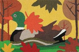 Mallard Duck with Fall Leaves Washable 21 X 33 Area Accent J