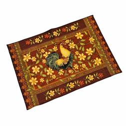 Mediterranean Rooster and Floral Tapestry Accent Rug