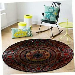 OneHoney Round Area Rugs, Ancient Vintage Ethnic Pattern Ind