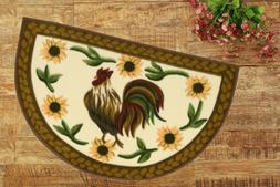 Kitchen Rug Rooster Farm Yellow Green Sunflower Accent Slice