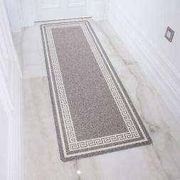 silver gray long non slip hallway runner
